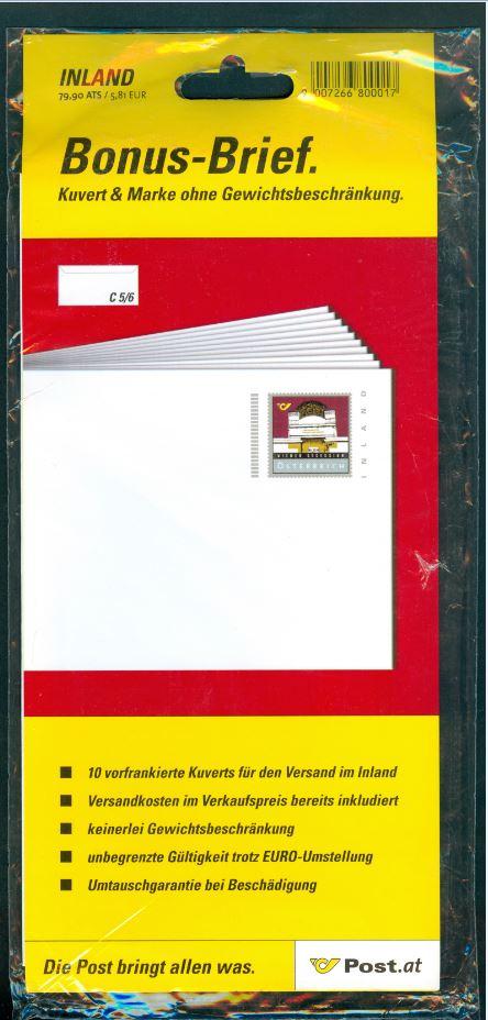 Bonusbriefe der österreichischen Post At_2001_bonus_800017_00