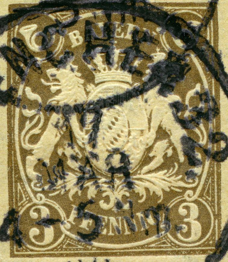 Prägedruck 1860-1900 in der Schweiz und in den deutschen Staaten Bayern_18xx_3pf_pws_101