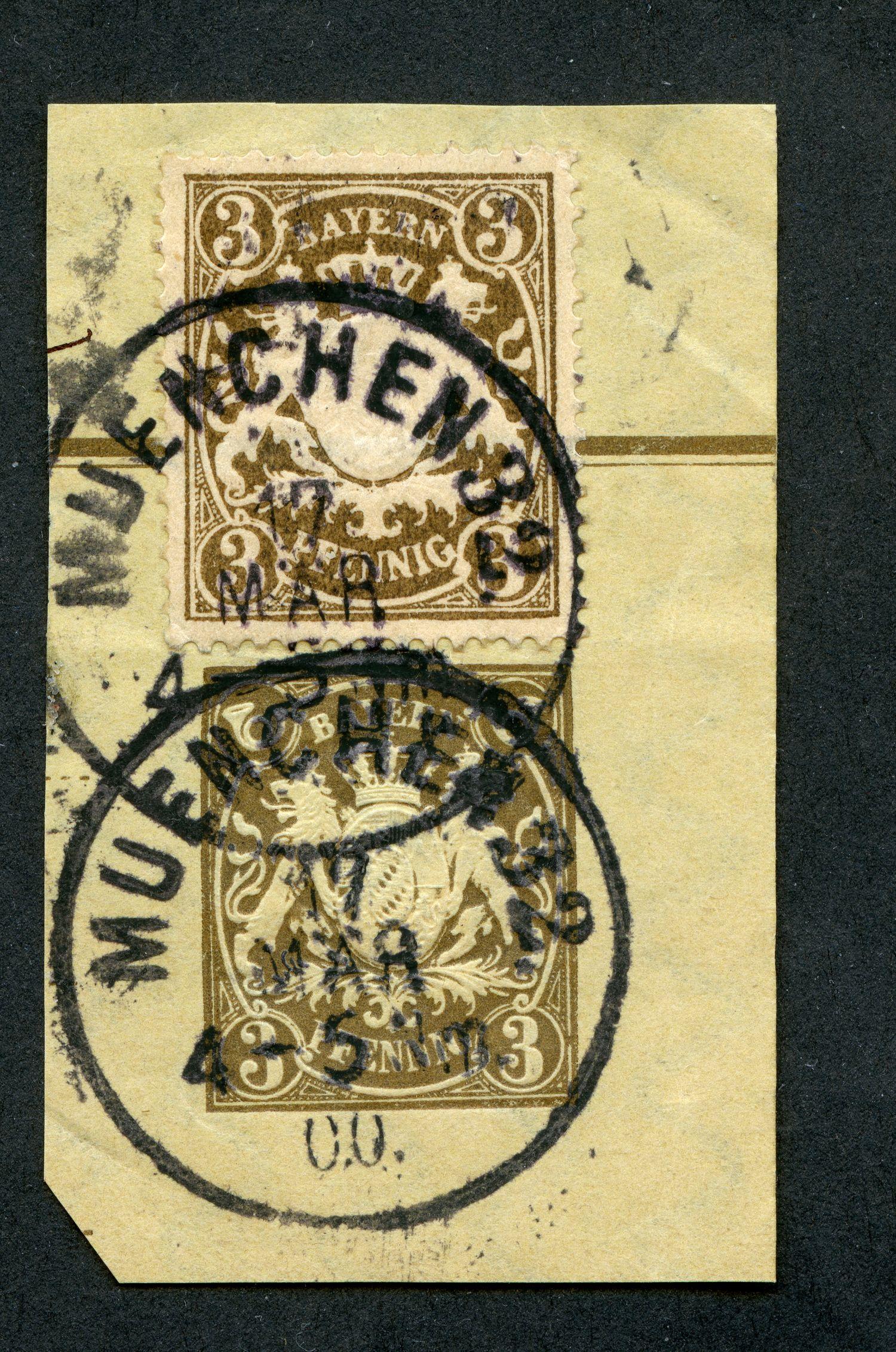 Prägedruck 1860-1900 in der Schweiz und in den deutschen Staaten Bayern_18xx_3pf_pws_110