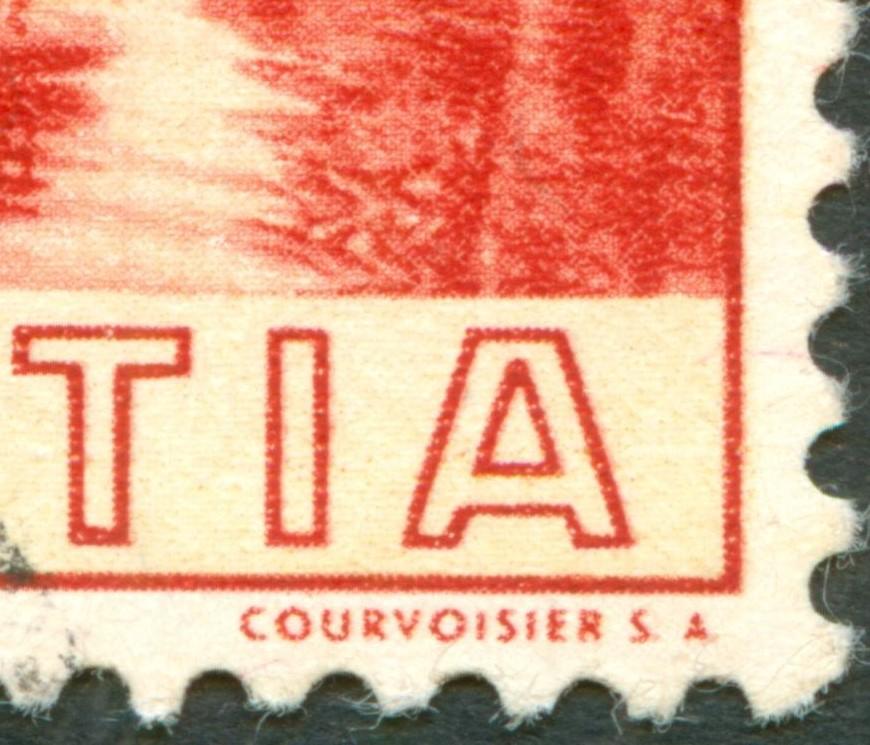 Tête-bêche Bogen bei Rakeltiefdruck Courvoisier S.A.  Ch_1938_bit_20_R_01