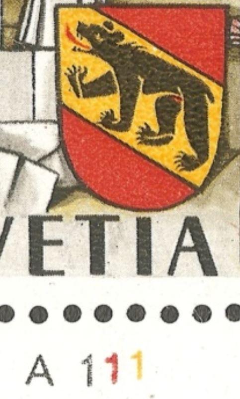 750 Jahre Bern Schalterbogenbezeichnungen für Druckrichtungbestimmung durch Rein Ch_1941_01_a1110