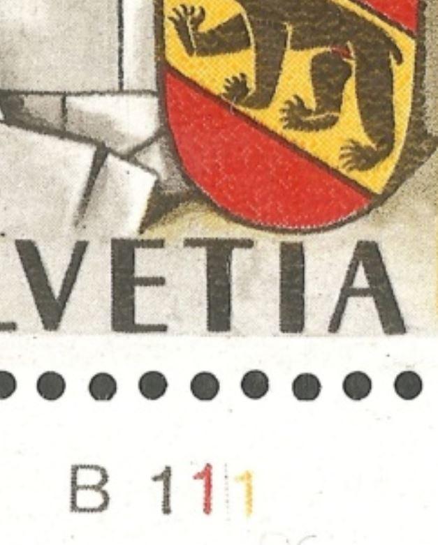 750 Jahre Bern Schalterbogenbezeichnungen für Druckrichtungbestimmung durch Rein Ch_1941_02_b1110