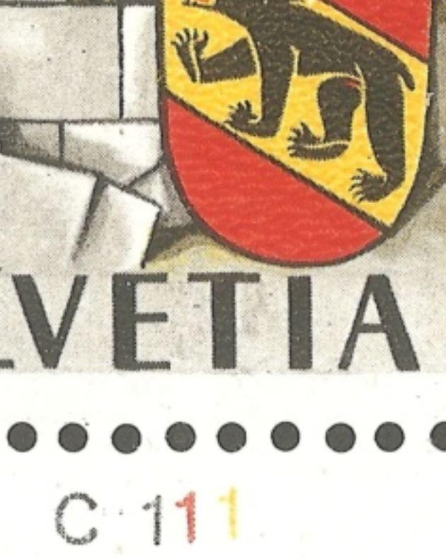 750 Jahre Bern Schalterbogenbezeichnungen für Druckrichtungbestimmung durch Rein Ch_1941_03_c1110