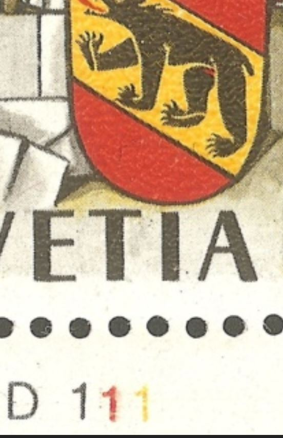 750 Jahre Bern Schalterbogenbezeichnungen für Druckrichtungbestimmung durch Rein Ch_1941_04_d1110